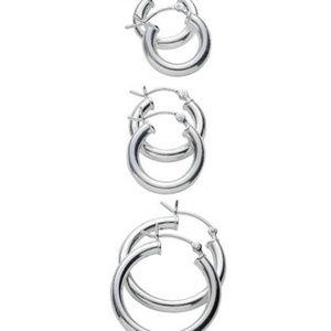 Sterling Silver Hoop Earrings (3 pairs)